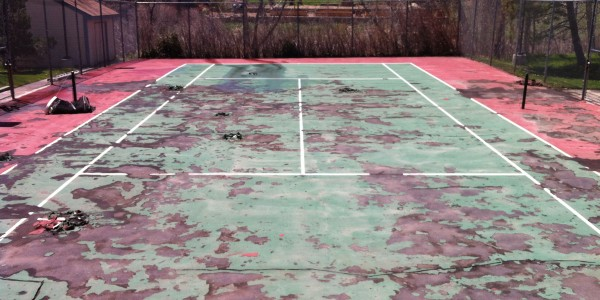 Tennis Court Before Repair