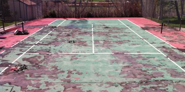 Tennis Court Before Repair