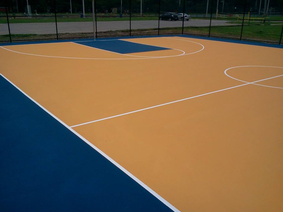 Basketball court surfaces construction and painting for Average basketball court size