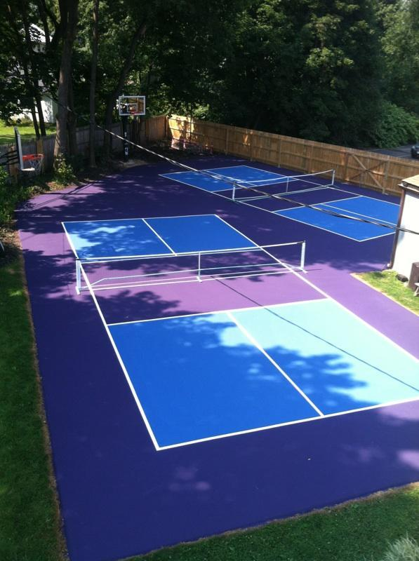 Can pickleball be played on a tennis court for Residential basketball court cost