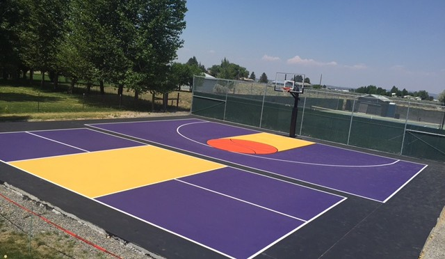 Backyard sports court construction surfacing washington for Basketball court cost estimate