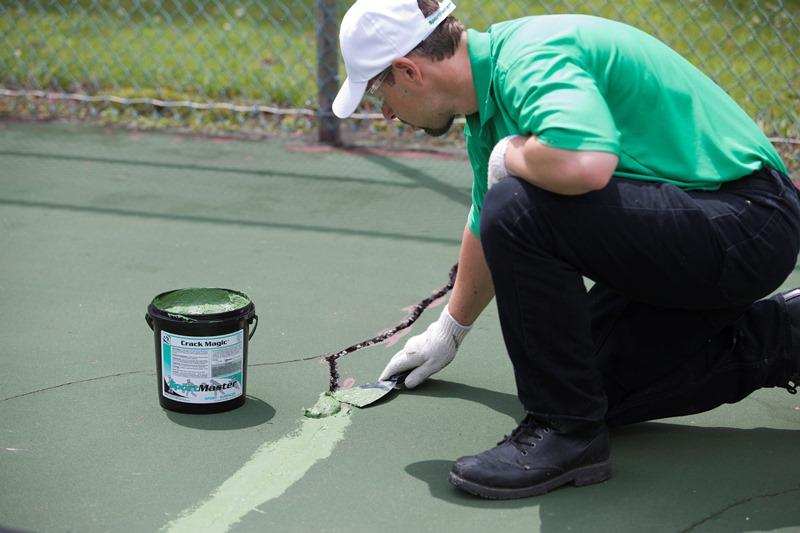 tennis court crack repair louisiana