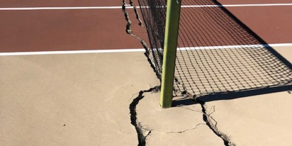 Tennis Net Post Footer Cracks