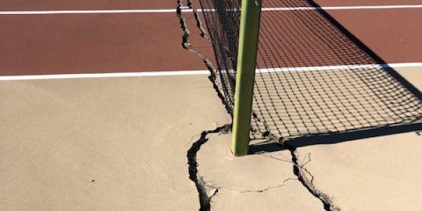 Tennis Net Post Footer Cracks