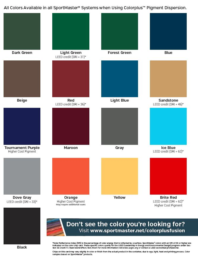 SportMaster Tennis Court Color Combinations